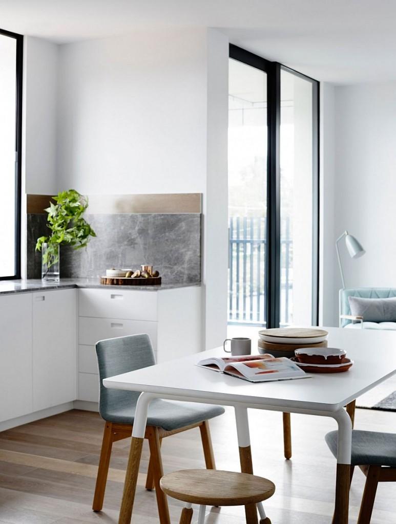 Apartamento en tonos pastel Melbourne - Mesa de comedor