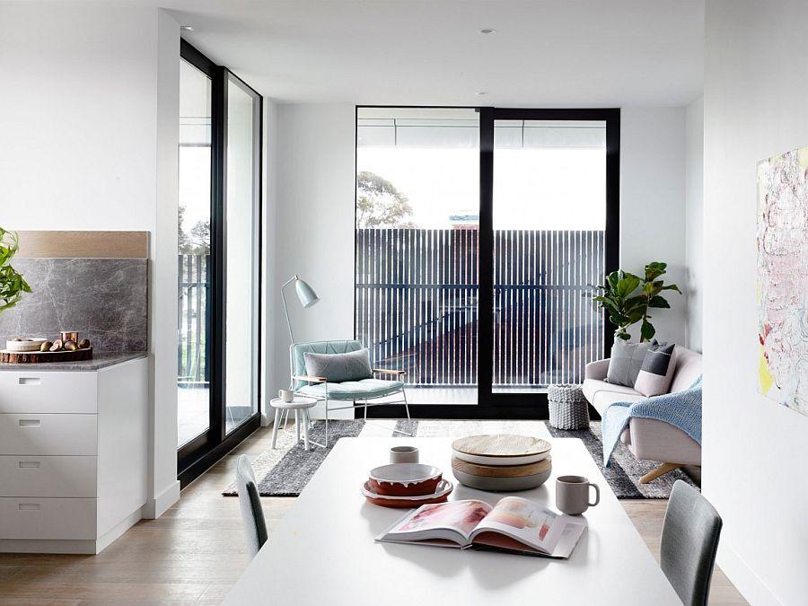 Apartamento en tonos pastel Melbourne - Salon comedor