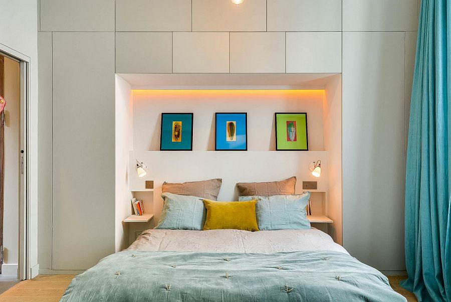 Apartamento moderno y renovado en Paris - dormitorio con mucho almacenaje