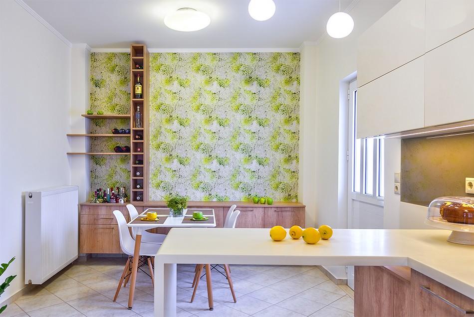 Color en Creta - cocina papel pintado