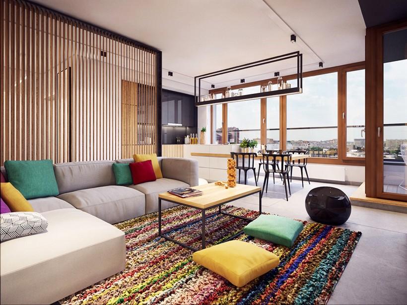 apartamento urbano en Varsovia salon