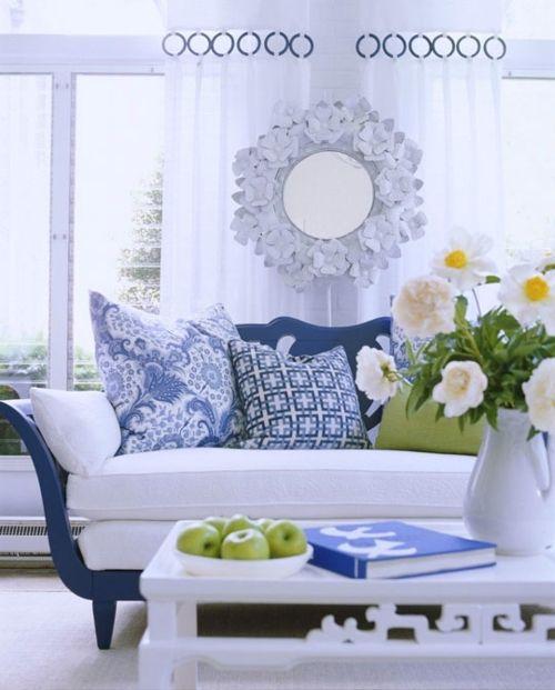 salon en blanco y azul artefactum. pinterest
