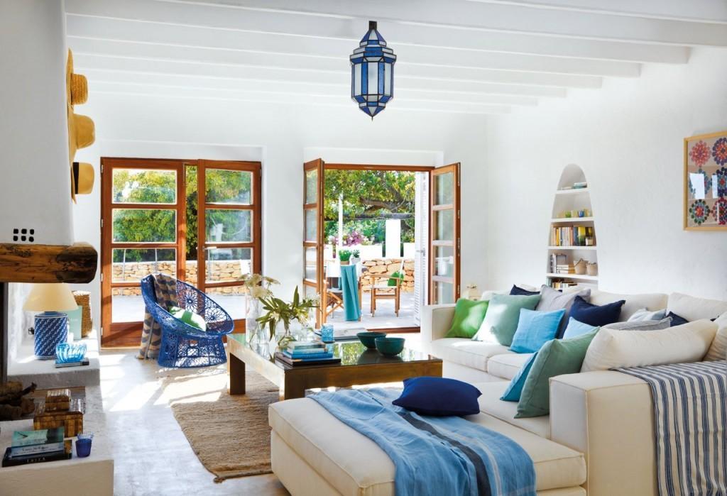 salon en blanco y azul. el mueble 2