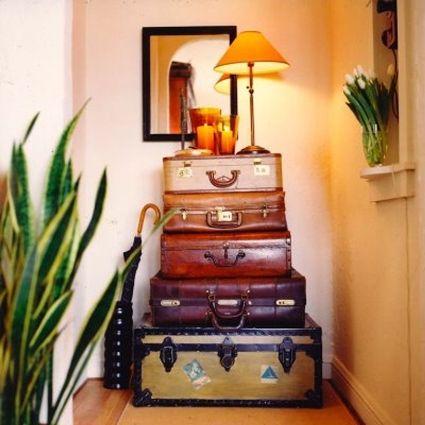 Maletas vintage para decorar recibidor - estiloydeco