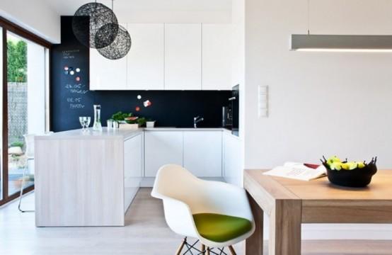 Casa en blanco y negro - cocina comedor
