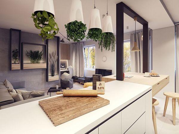 Moderno en Varsovia - cocina isla