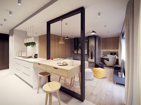 Moderno en Varsovia - cocina vista hacia salon