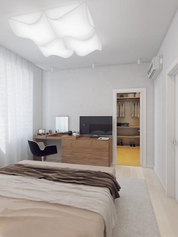Apartamento blanco - dormitorio principal con workspace