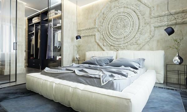 Contemporaneo y clasico - dormitorio cama acolchada