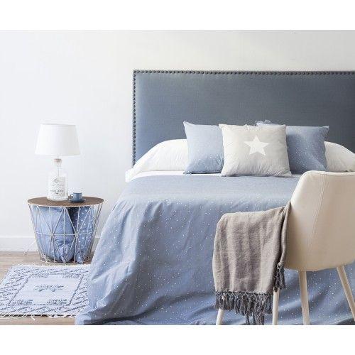 Dormitorio verano blanco y azul kenay