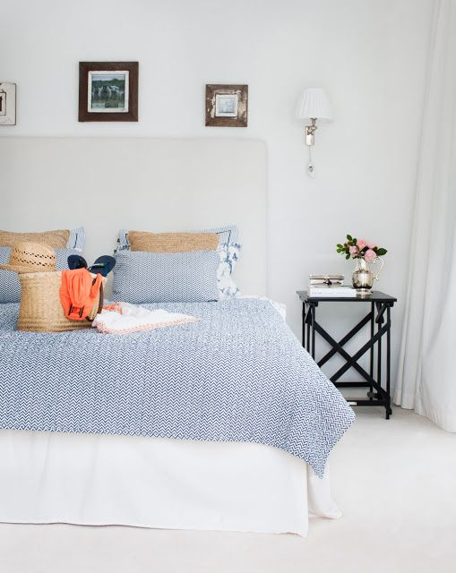 Dormitorio verano blanco y azul