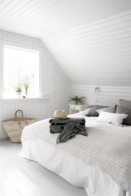 Dormitorio verano blanco y gris