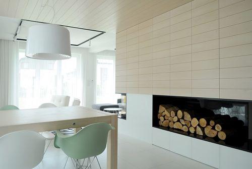 Calido minimalismo - comedor chimenea2
