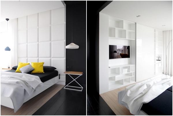 Calido minimalismo - dormitorio con armario
