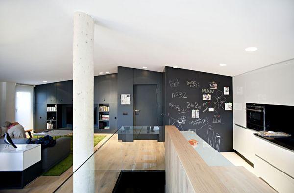 Duplex moderno - cocina pared pizarra