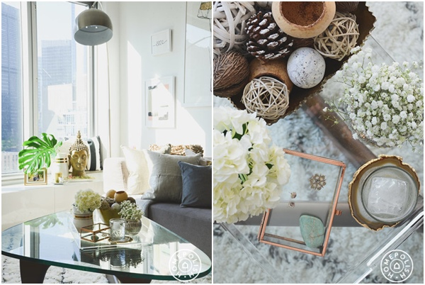 Glam oro, gris y blanco - detalles salon