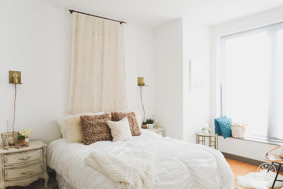 Glam oro, gris y blanco - dormitorio