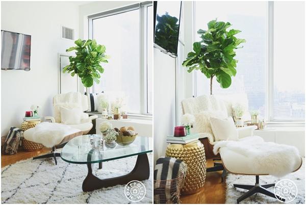 Glam oro, gris y blanco - salon rincon sillon relax