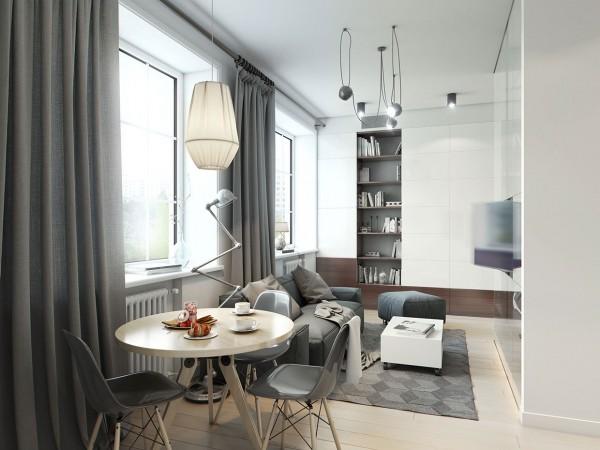 Estilo moderno - comedor gris y blanco