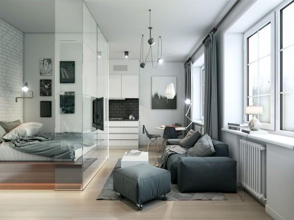 Estilo moderno - salon gris y blanco