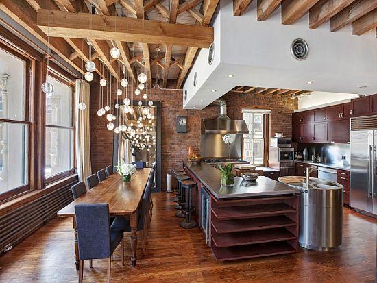 Loft industrial - cocina y comedor eclecticos