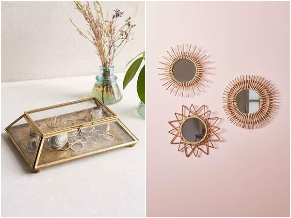 Espejos y cajita metal